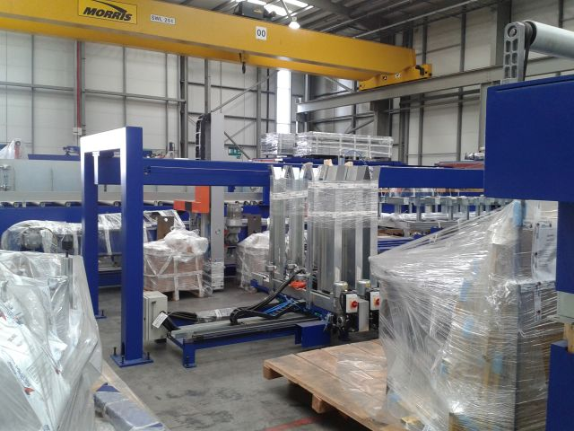 A Complete and Unused Board Sawing and Packing Line for Processing Rigid Polyurethane Foam Panels